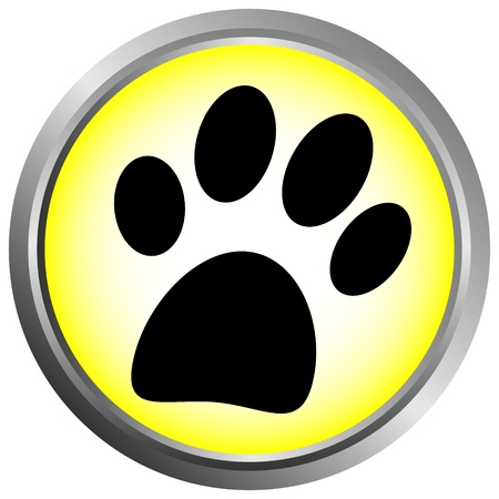 doggy: Paw button on white background Illustration
