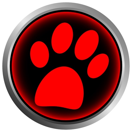 dog track: Paw button on white background Illustration