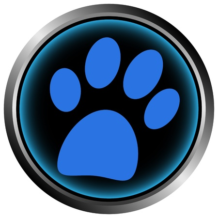 veterinary sign: Paw button on white background Illustration
