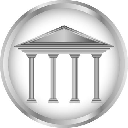 Bank icon or button on white background Ilustração