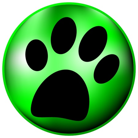 prints mark: Paw button on white background Illustration