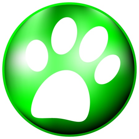 pup: Paw button on white background Illustration