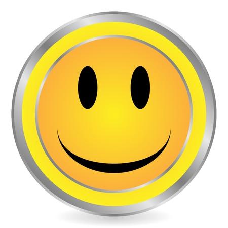 Smile face yellow circle icon on white background