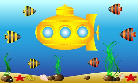 Yellow submarine under water surrounded by fish and sea grass  Vector