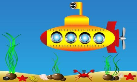Sottomarino giallo sotto l'acqua Vettoriali