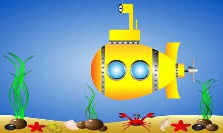 submarine: Yellow submarine under water Illustration