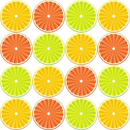 Citrus background with slices of lemon, grapefruit and orange.  Vector