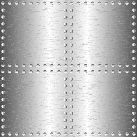 Brushed metal, template background with rivets. Stock Vector - 11621059
