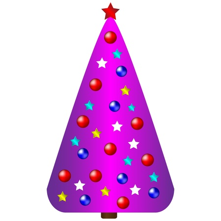 Decorated christmas tree isolated on white background Vector
