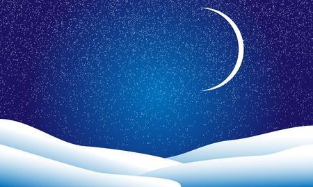 nuit hiver: Paysage d'hiver, la nuit, les �toiles et la lune Illustration
