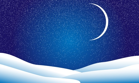 Winter landscape, night, stars and the moon