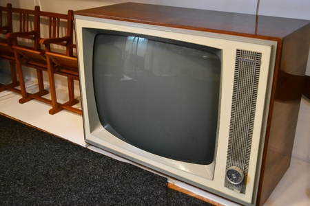 televised: Stolin, Belarus - March 15, 2011: the photo of old TV