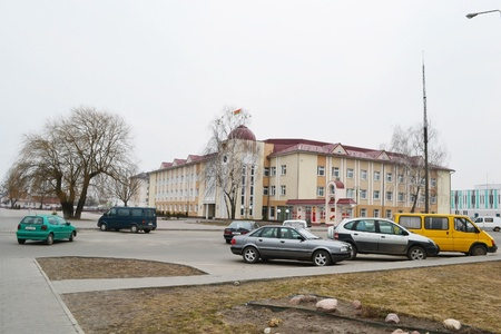 Stolin, Belarus - March 15, 2011: View of street in Stolin on a early spring, Belarus.