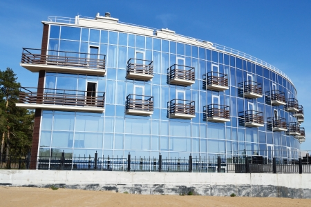 mirrored: Zelenogorsk, Russia - May 15, 2011: new modern building of yacht club in the Zelenogorsk