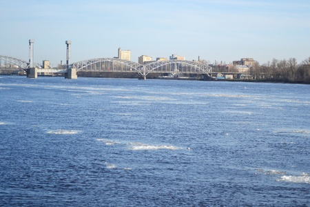 piter: View of Neva river and Finland Railway Bridge on a sunny spring day, St.Petersburg, Russia