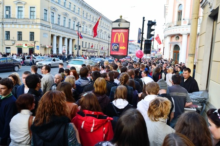 St.Petersburg, Russia - May 9, 2011: Large crowd of people on Nevsky Prospect Editorial