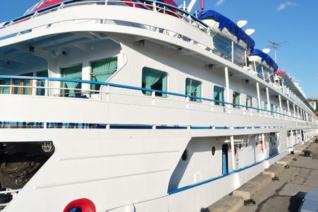 St.Petersburg, Russia - May 24, 2011: River cruise ships to berth quay in St. Petersburg