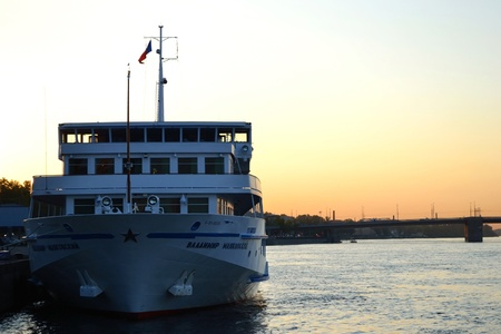 St.Petersburg, Russia -  May 31, 2011:  River cruise ships to berth quay in St. Petersburg