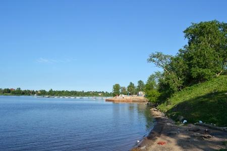 outskirts: Coast of Neva river, outskirts of St.Petersburg, Russia