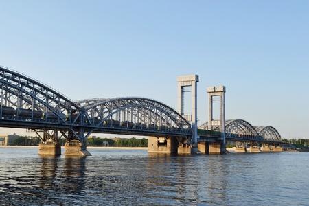 piter: View of Finland Railway Bridge at evening, St.Petersburg, Russia Stock Photo