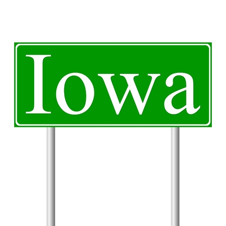 guidepost: Iowa green road sign isolated on white background Illustration