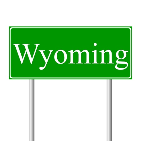 guidepost: Wyoming green road sign isolated on white background Illustration