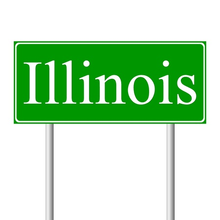 Illinois green road sign isolated on white background Vector