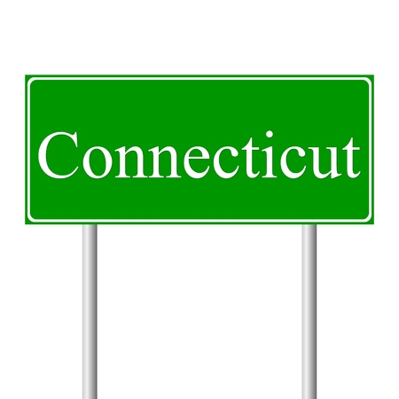 guidepost: Connecticut green road sign isolated on white background