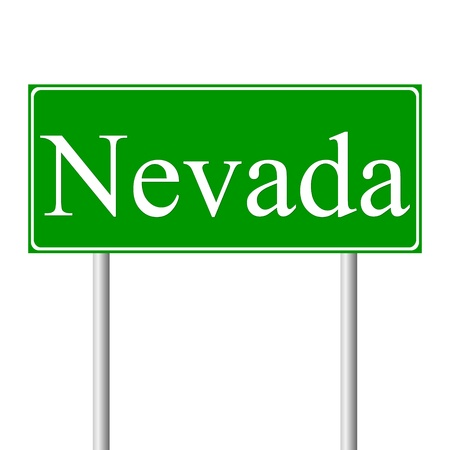 Nevada green road sign isolated on white background Vector