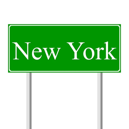 New York green road sign isolated on white background Vector