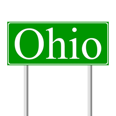 Ohio green road sign isolated on white background Vector