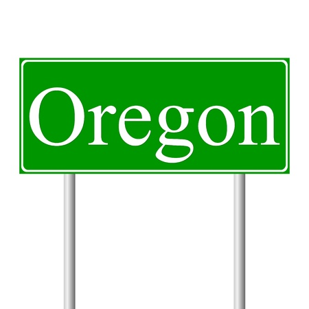 guidepost: Oregon green road sign isolated on white background