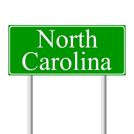 North Carolina green road sign isolated on white background Vector
