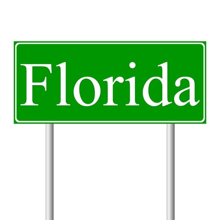 Florida green road sign isolated on white background Vector