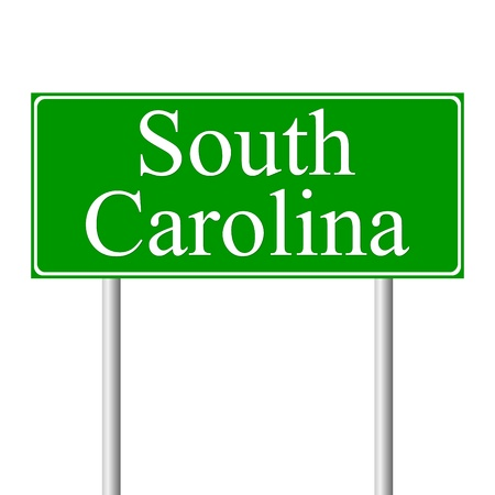 and south carolina: South Carolina green road sign isolated on white background Illustration
