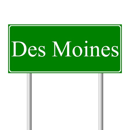Des Moines green road sign isolated on white background Vector