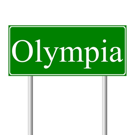 roadtrip: Olympia green road sign isolated on white background