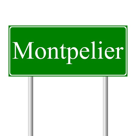 roadtrip: Montpelier green road sign isolated on white background