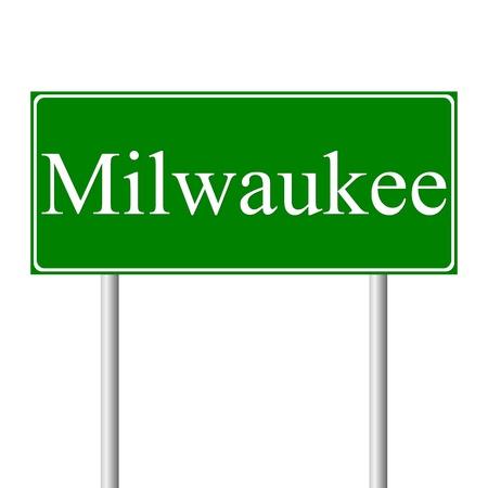milwaukee: Milwaukee green road sign isolated on white background