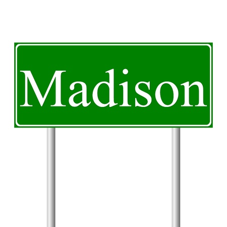 madison: Madison green road sign isolated on white background Illustration
