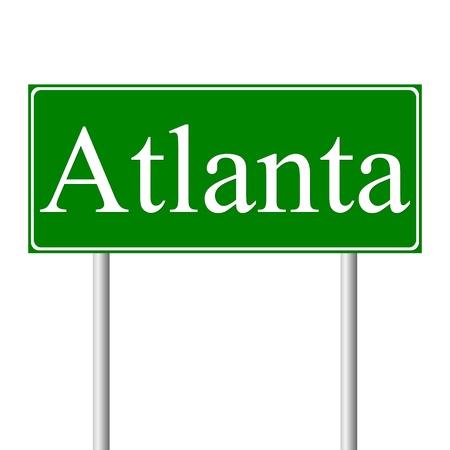 atlanta: Atlanta green road sign isolated on white background Illustration