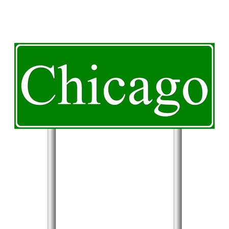 Chicago green road sign isolated on white background Vector