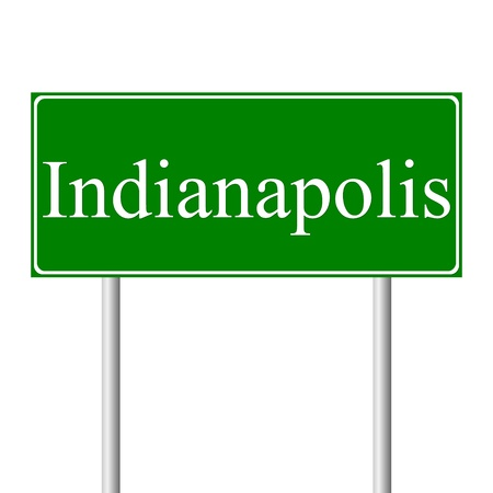roadtrip: Indianapolis  green road sign isolated on white background