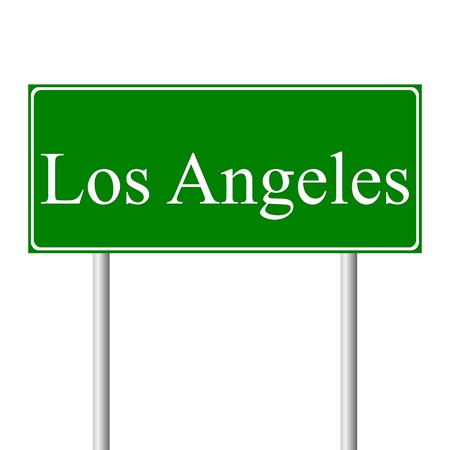 angeles: Los Angeles green road sign isolated on white background