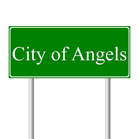 los angeles: Los Angeles gr�nen Schild auf wei�em Hintergrund Illustration