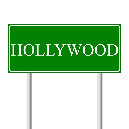 Hollywood green road sign isolated on white background Vector