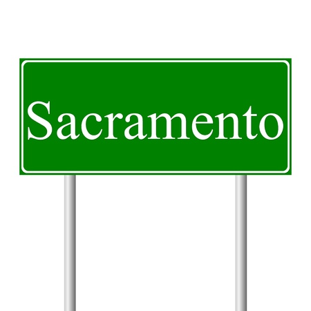 Sacramento green road sign isolated on white background Stock Vector - 11760950