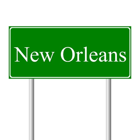 new orleans: New Orleans green road sign isolated on white background