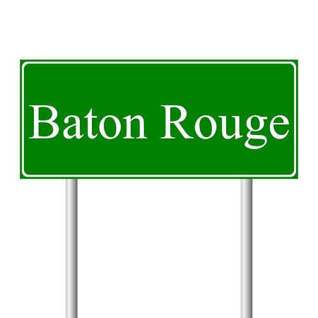 baton rouge: Baton Rouge green road sign isolated on white background Illustration