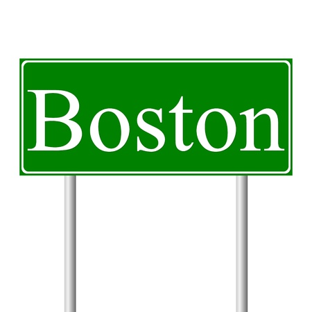 Boston green road sign isolated on white background Vector